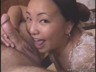 Nasty mature Asian gets cumfaced after hot blowjob!