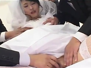 Freaky Japanese bride is the capacity be useful to both her husband increased by his groomsmen