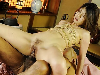 Roped Asian gags on a hairy boo-boo after mammal fingered