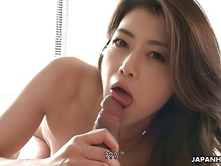 Subsistence Japanese wife sucks and rides hard shaft about POV