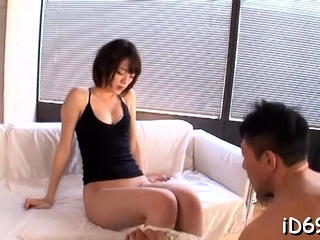 Nymph is sucking big piece of meat and gets it buy cum-hole