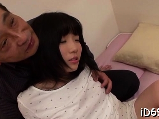 Sweet-looking oriental honey spreads legs and gets fingered