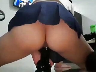 Asian dildo riding