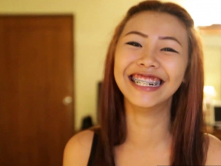 Asian small titted teen with braces