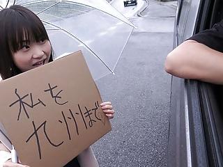 Japanese schoolgirl, Mikoto Mochida is sucking a stranger's