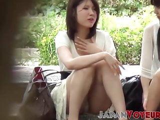 Japanese babes get their panties filmed by voyeur