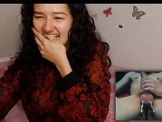 Feeble-minded asian teen hilarious webcam reaction!