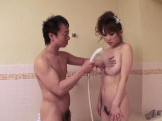 Japanese big tits Yui Takashiro sucks cock uncensored