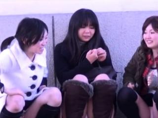Asian babes acquire filmed upskirt