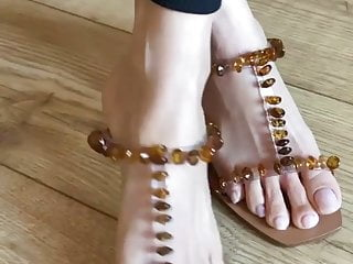 Asian mature feet soles with respect to open heels
