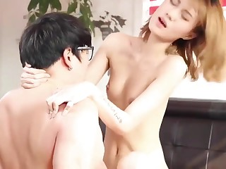 korean softcore gathering horny cute couple fuck on sofa