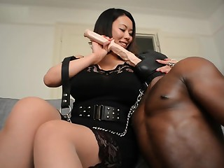 Interracial Femdom (BBW Asian and Black Slave)