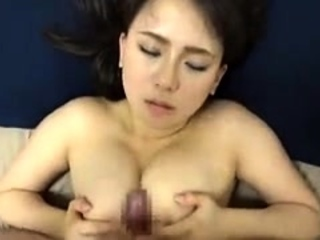 Busty fit together gives conscientious blowjob and titjob